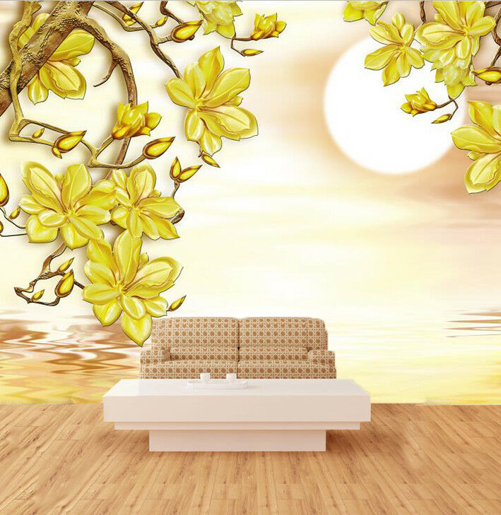 3D Gelb Flower 87 Wallpaper Mural Wall Print Wall Wallpaper Murals US Carly