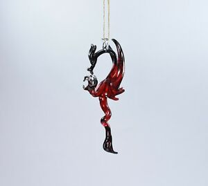 Hanging Red Black Dragon of Blown Glass Crystal