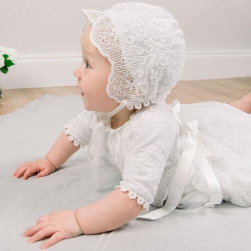Christening Baby Girls Dress Baptism Birthday Infant Lace Gowns Dresses+Hat Set
