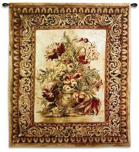 Porto Sienna Floral  Still Life Tapestry Wall Hanging 33 x53