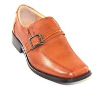 La Milano Boy's Tan Genuine Leather Slip-on Dress Shoes Style At6104