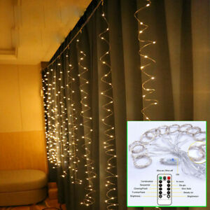 300-LED-Curtain-Fairy-Lights-USB-String-Hanging-Wall-Lights-Wedding-Party-8Modes