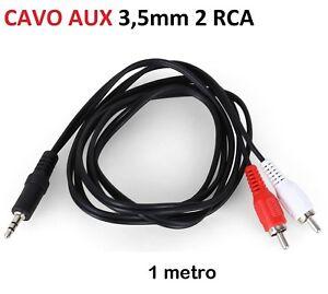 CAVO-RCA-1m-3-5mm-Maschio-2-RCA-AUX-maschio-doppio-JACK-AUTO-CAR-CABLE