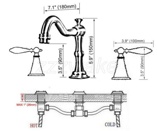 Brushed Nickel Bathroom Sink Faucet Double Handle 3 Hole Deck Mounted Mixer Tap