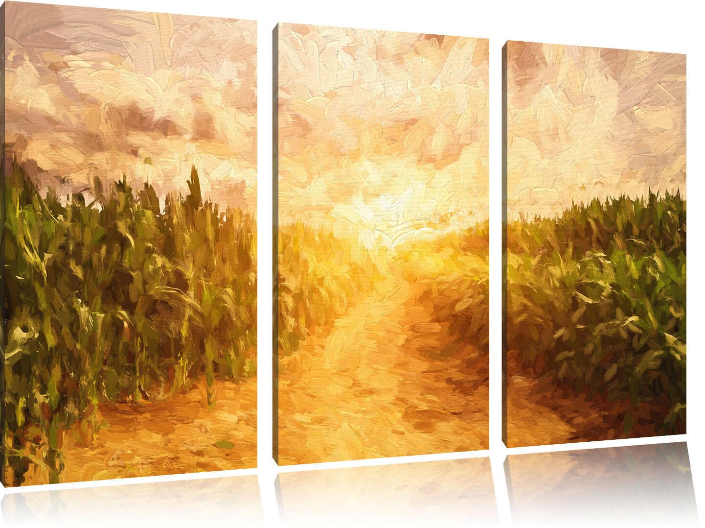 Pfad durch sonniges Feld Kunst Pinsel Effekt 3-Teiler Leinwandbild Wanddeko Kuns