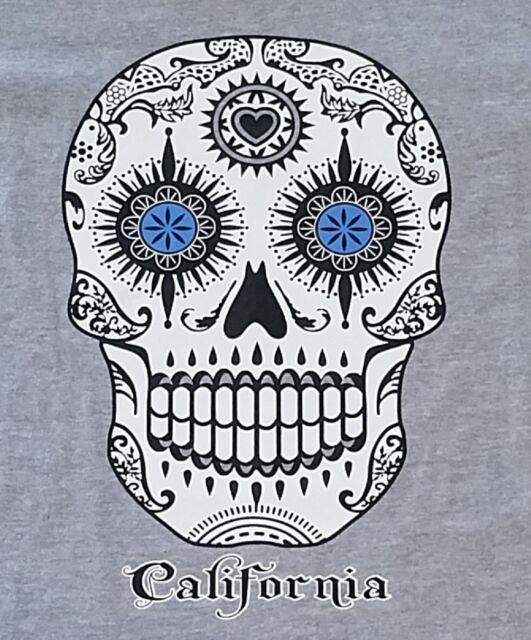 New Men's Day of the Dead White Sugar Skull T Shirt California tee