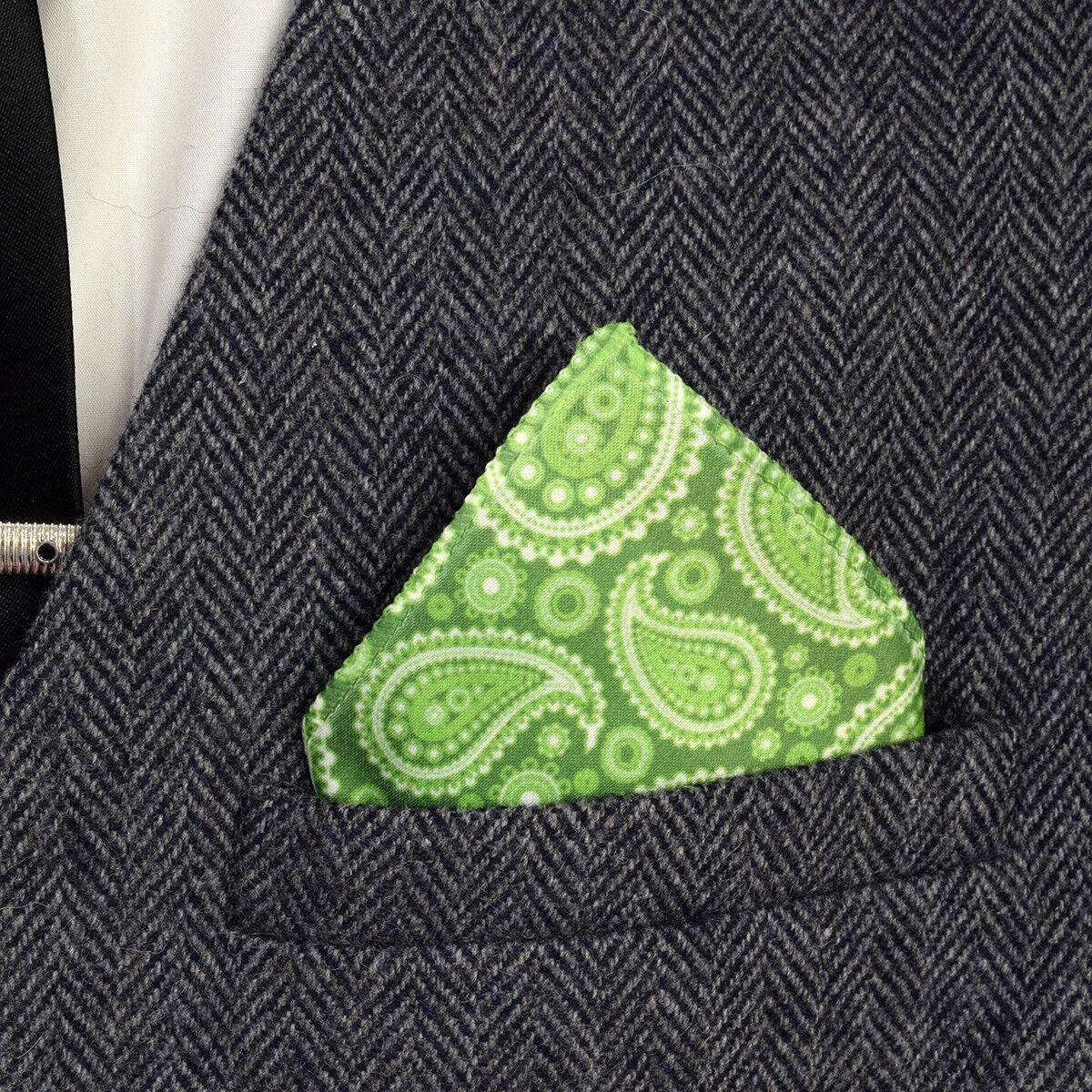 Verde y diseño Paisley Blanco Bolsillo Cuadrado XPS023
