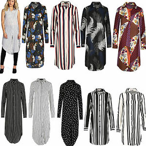 575214ed0fe Womens Long Shirt Ladies Striped Top Midi Length Collar Dress Blouse ...