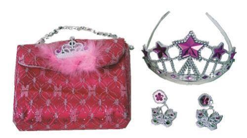 Handtasche 3er-Set Fasching Ohrringe Prinzessinnen Set für Kinder Krone