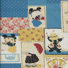 Fat Quarter Sunbonnet Sue Linen Look Cotton Quilting Fabric-50 x 55cm- Blue