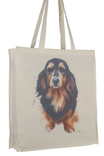 Dachshund Black Tan Long Hair Dog Cotton Bag with Gusset Xtra Space Perfect Gift