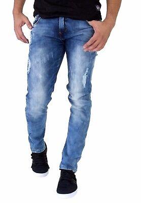ETZO Men/'s Italian design J7609 Slim Skinny fit premium Distressed denim