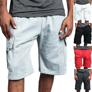 Cargo-Shorts-Men-Heavyweight-Cotton-Joggers-Sweat-Short-Pants-Pockets-Half-Pants