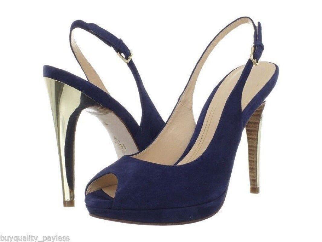 Cole Haan CHELSEA OT Slingback Peep Toe Navy Suede Pump Heels chaussures femmes 9