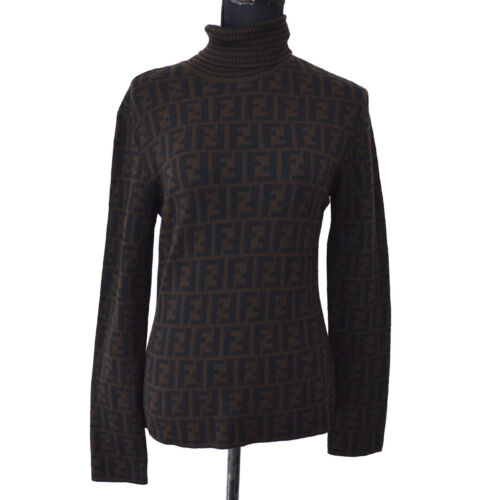 FENDI Vintage Zucca Pattern Long Sleeve Sweater To
