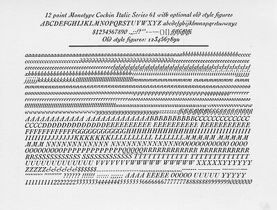 New Letterpress type-12pt Janson Italic