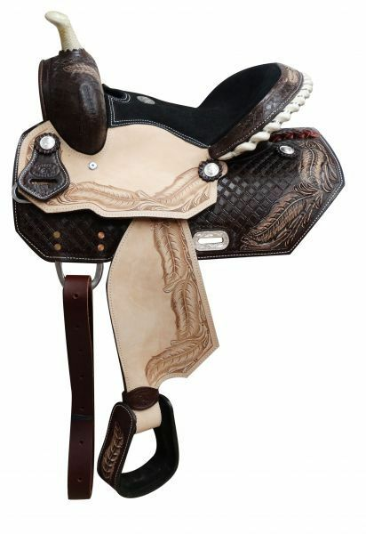Youth barrel saddle with tooled feather design 13
