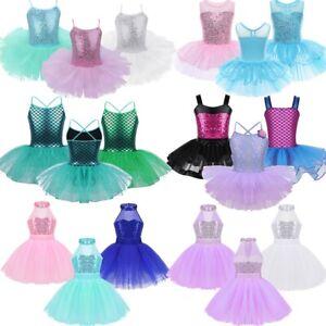 Kids-Girls-Sequin-Ballet-Dance-Leotard-Dress-Gymnastics-Tutu-Skirt-Swan-Costume