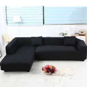 sofa covers l shape 2pcs polyester fabric stretch slipcovers for rh ebay co uk