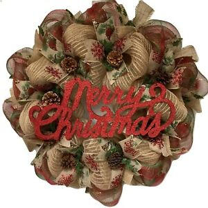 image is loading merry christmas rustic burlap wreath with real pine - Christmas Burlap Wreath