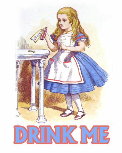 Alice In Wonderland Drink Me VINTAGE ENAMEL METAL TIN SIGN WALL PLAQUE