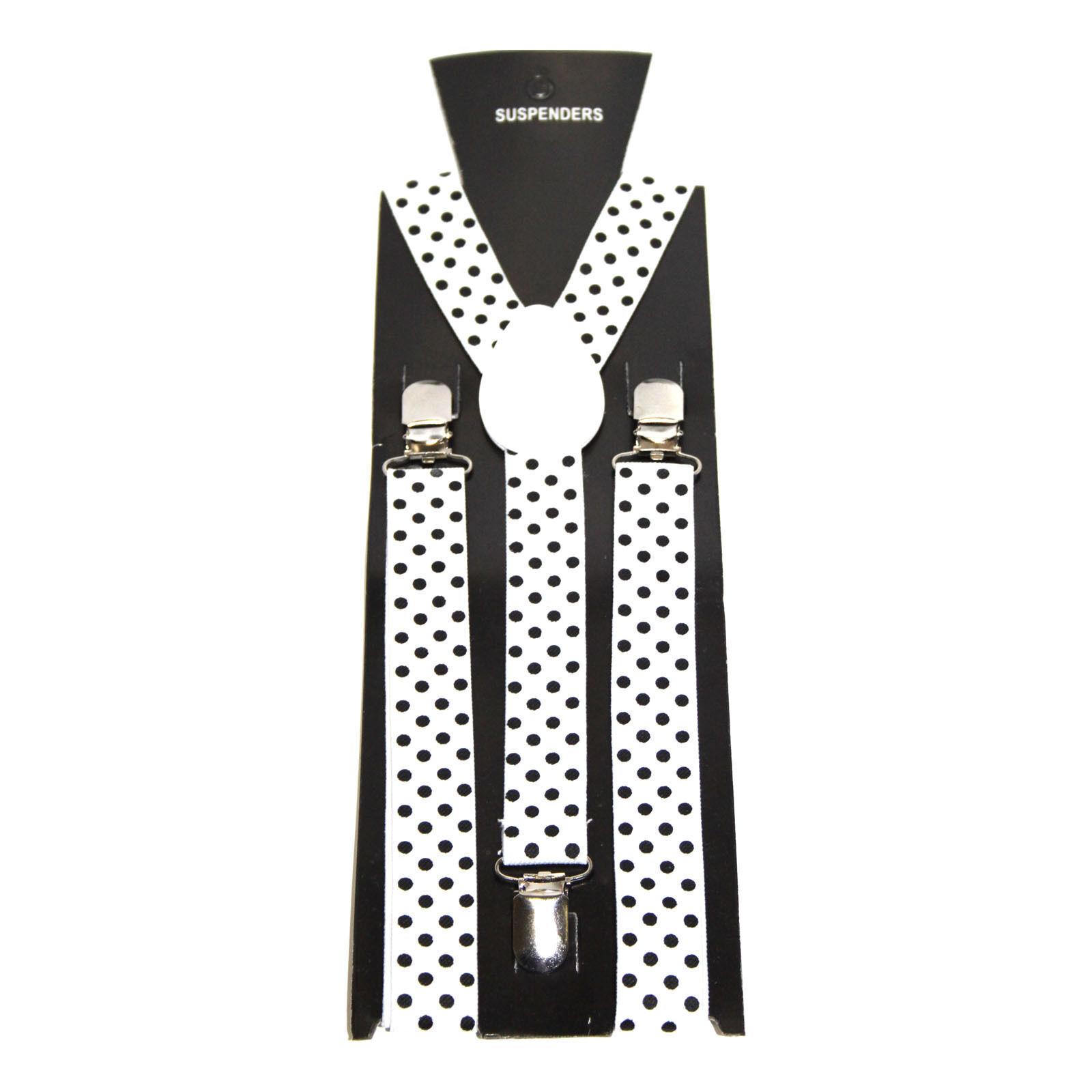Polka Dots Braces Men's Women's Unisex Trouser Elastic Y-Back Suspender Clip on