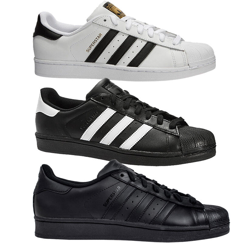 Adidas Superstar Trainers in 3 colours Mens Womens sizes 7 to 12 White Black