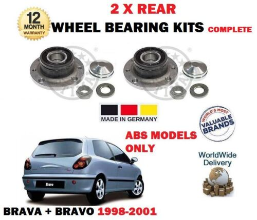 FOR FIAT BRAVA BRAVO 1998> NEW 2 X REAR WHEEL ABS BEARING KIT WITH SENSOR RING