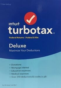 New Sealed Intuit TurboTax Deluxe 2016 Federal ONLY Turbo Tax no State