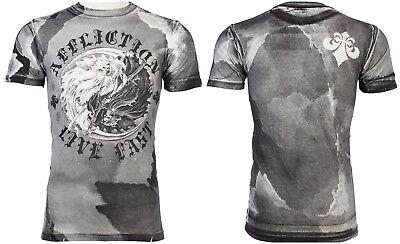Affliction Uomini T-Shirt Live Fast American Customs nero moto biker $58