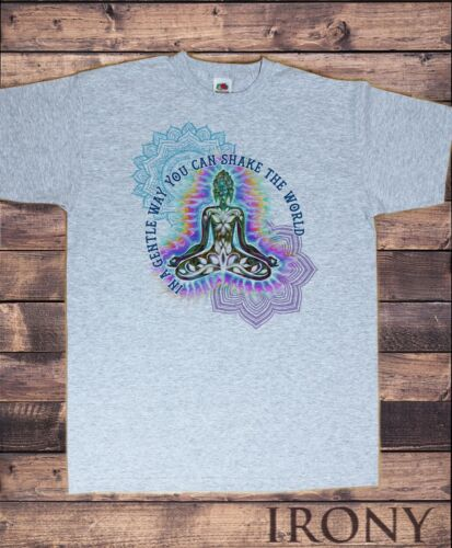Men/'s Thé /'in a Gentle Way You Can Shake the World/' Bouddha Slogan ts1202