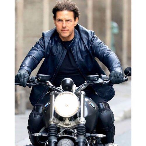 cuero cordero 6 Cruise piel Tom Misión de de de genuino imposible Chaqueta Biker FtwHRH8x
