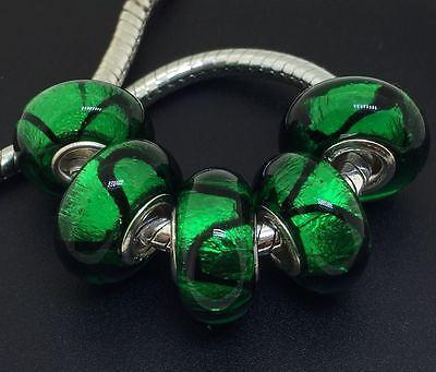 5PCS silver hallmarked Single Core Murano Glass Beads fit Charms Bracelet AOC075