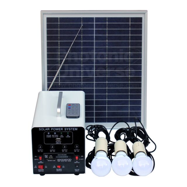 15w Off Grid Solar Lighting System With 3 Led Lights Fm