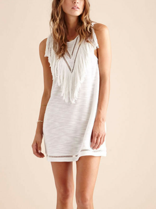 Suboo Ivory White Castaway Tassel Fringe Mini Sundress Beach Cover Cover Cover Up 12 496fad