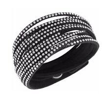 Glamorous Black Snake White  Crystals Bangle Bracelet New