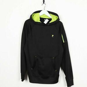 Vintage-FILA-Small-Logo-Polyester-Hoodie-Sweatshirt-Black-Small-S