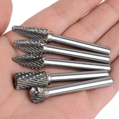 "5PCS Tungsten Carbide Burr 1//4/"" 6mm Rotary Cutter Files Set CNC Engraving 10mm"