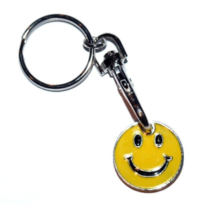 2 PACK SMILE FACE TONGUE ONE POUND COIN TOKEN KEYRING SHOPPING TROLLEY New