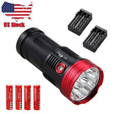 SKYRAY 25000LM 10x XM-T6 LED Work Flashlight Torch Hunting Lamp 4x18650+2xCharge
