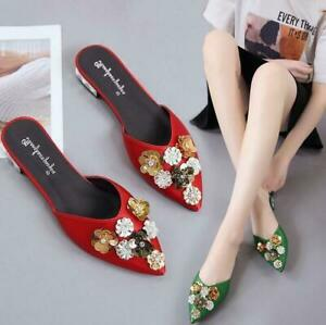 Womens-Pointed-Toe-Floral-Sequins-Slip-On-Slippers-Shoes-Casual-Mules-Pumps-Chic