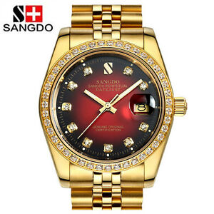 Details About Luxury Gold Watch Men Automatic Mechanical Red Face Gilded Waterproof Wristwatch