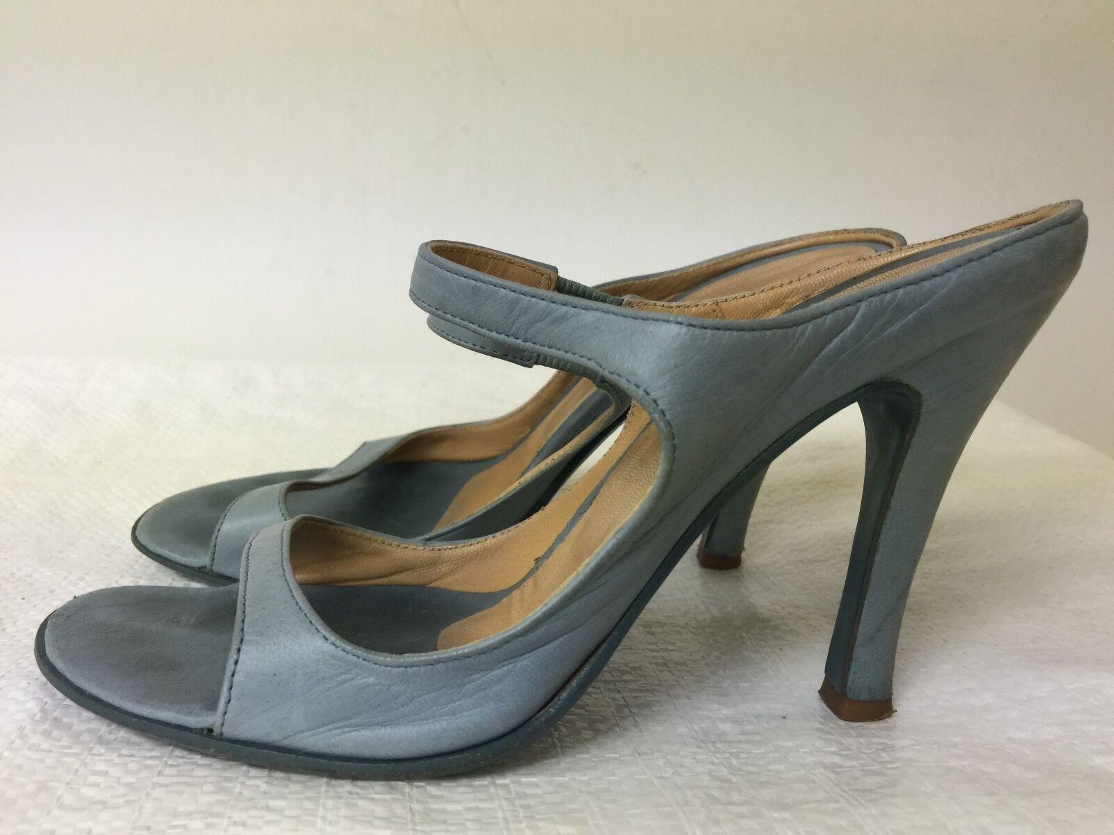 Burberry Prorsum damen Blau Blau Blau leather slip on heel Sandals Größe EUR 37.5 acb639