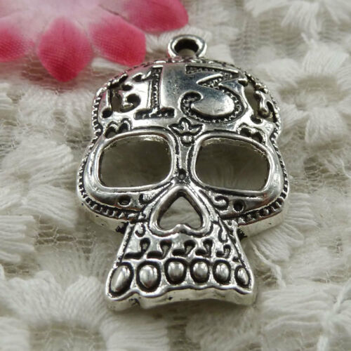 free ship 42 pieces Antique silver skull charms 39x25mm #3944
