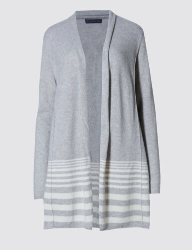 M /& S COLLECTION PURE CASHMERE STRIPED HEM SILVER MIX SWING SEAM CARDIGAN