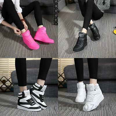 New Ladies Fashion Shoes HighTop Lace Up Wedge Sneaker Ankle Casual Shoes