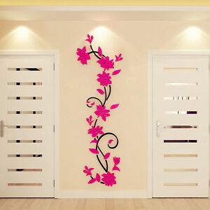 US 3D Flower Mirror Removable Wall Sticker Decal Room Home Art Decor Mural Gifts