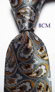 New-Classic-Paisley-Gray-White-Gold-JACQUARD-WOVEN-100-Silk-Men-039-s-Tie-Necktie