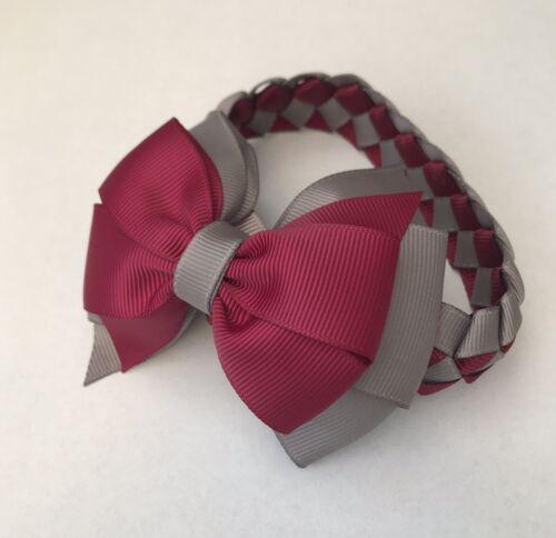 SCUOLA Borgogna//Grigio HAND MADE Fiocco Chignon Wrap