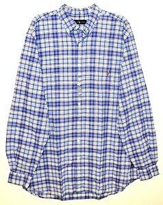 Polo-Ralph-Lauren-Big-Tall-Mens-3XLT-Blue-Plaid-Button-Front-Shirt-NWT-Size-3XLT
